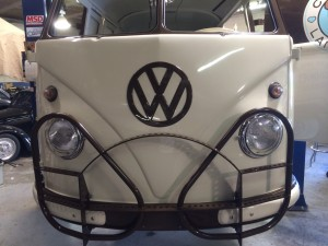 VW bus front view fully restored